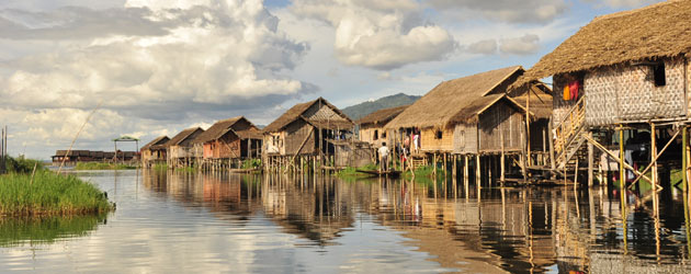 Some of the many thousands of houses, villages, monasteries and farms that exist on Lake Inle.