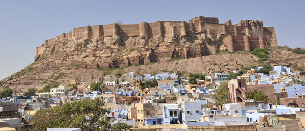 The stunning Mehrangarh Fort and blue city of Jodhpur in Rajasthan. The undefeated home to many a Maharaja!