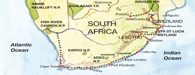 Coffee bay map south africa