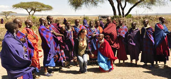 Megumi participating in a welcome ceremony at a Masai village, just outside Ngorongoro crater!