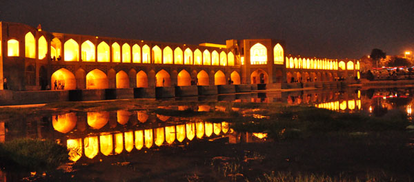The stunning Khaju Bridge, one of 7 ancient bridges along the river and parks in beautiful Esfahan. As dusk falls, talented locals gather to quote poetry, sing folk tales and dance under the various arches. Truly magical!