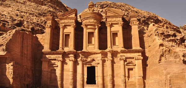 The 'Monastery' in Petra, located at the top of a mountain, it is one of innumerable buildings, tombs and even amphitheatres all carved out of the rocks & valleys in the secret city....