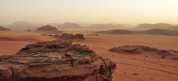Inspiring desert horizons and striking rock formations from our bedouin camp in Wadi Rum. The playground of  'Lawrence of Arabia' and numerous legends from Arabian Nights.....