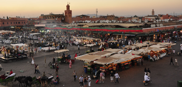 Eateries awaken as Ramaddan breaks over the famous Djemma El Fna square, centre of the ancient Medina and souqs of Marrakesh.