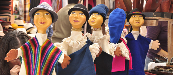 Some friendly felt puppets showing off the indigenous dress styles of the locals at Otavalo. One of the best markets in South America, Otavalo is famous for felt hats, leather-work, handy craft and the traditional wear / friendly demeanor of the locals. Unfortunately the puppets were easier to photograph.