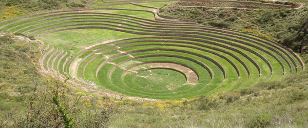 The fascinating Incan terrace designs of Moray in the Sacred Valley...........largely believed to be an agricultural experimental zone built by the Inca's....the Andean people and their shaman come here to conduct ceremonies and make offerings to Panchama - mother earth....