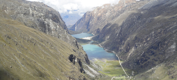 Panoramic views from a pass near the start of a 4 day, all weather Santa Cruz trek through some of the stunning valleys, glaciers, lakes and epic snow capped mountains of the Cordillera Blancas.