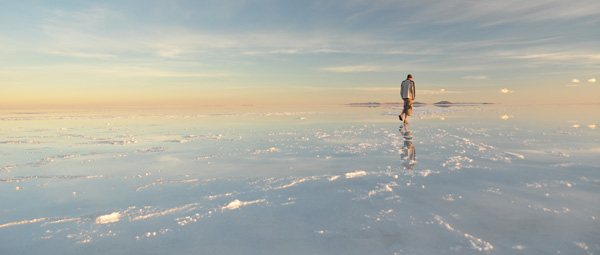 Every hour the Uyuni landscape changed with the light. Morphing from watery landscapes, to mirror reflections to almost icy nothingness - constantly changing with the light. Many, like this one at sunrise - feel more like professional exhibition works with no photo-shopping required.